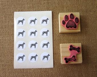 Great Dane Dog Stickers One Inch Round Seals