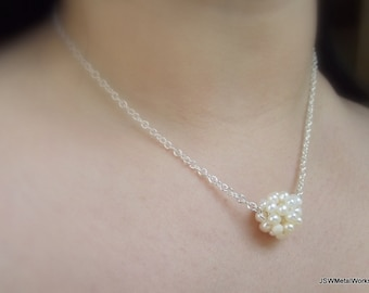 Pearl Cluster Silver Necklace, White Pearl Necklace
