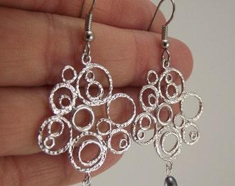 Textured Matte Silver Bubble Earrings, Pearl Earrings, Organic Circle Silver Earrings