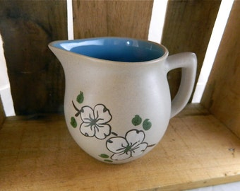 Vintage Pigeon Forge Larger Pottery Dogwood Pitcher with Bright Robins Egg Blue Interior: Blooming Dogwood