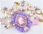 Unicorn Cameo Necklace, Pastel Pink and Lavender Pearl Chain in Gold - Fairy Kei, Decoden Jewelry