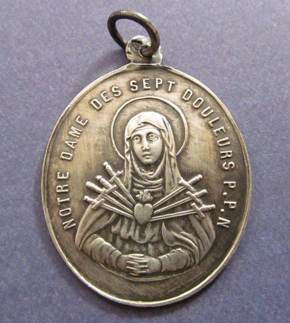 Virgin Mary Mother of Sorrows Sterling Silver French Religious Medal Dated 1846  SS457