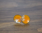 Enameled Orange and white cloud Copper Stud Earrings Hammered Forged