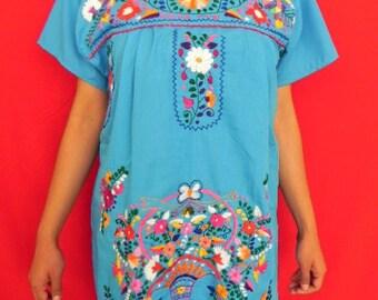 Mexican Blue Mini Dress Elegant Tunic Vtg Style Lovely Floral Embroidered Handmade Medium / Large