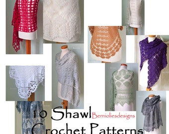 10 Shawls, Crochet shawl pattern pdf