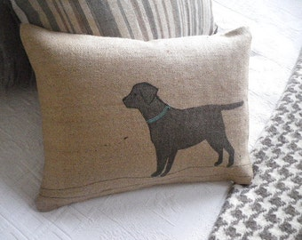 hand printed labrador cushion