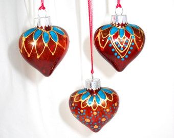 Puffed Glass Heart Ornaments Hand Painted Harlequin Holiday Ornament Set FREE SHIPPING