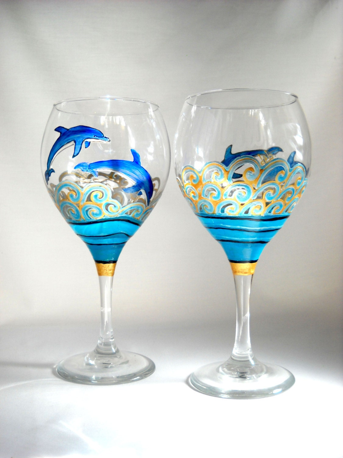 Blue dolphin wine glasses hand painted ocean by for Hand painted glassware