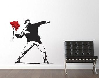 Banksy Throwing Flowers Wall Stickers