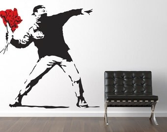 Large Banksy Throwing Flowers Wall Stickers