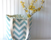 Chevron Tote Bag in Aqua Blue and Natural Beige - Spring and Summer Reversible Book Bag Hand Bag