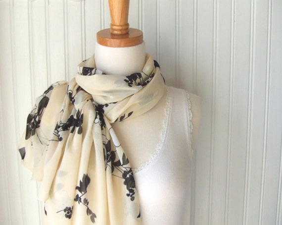 Floral Chiffon Scarf in French Vanilla Cream and Chocolate Brown, Sheer Scarf , Fall Scarf, Spring Scarf, Floral Scarf, Gift Idea