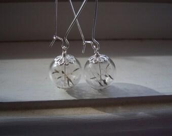 Dandelion Earrings  - Make A Wish Glass Orb Earrings -  Bridesmaid Earrings - Free Gift With Purchase
