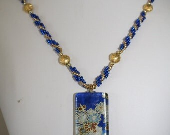 Asian-inspired beautiful blue necklace