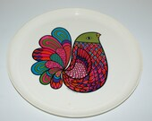 Vintage Deka Tray - Bright Bird Vintage Tray by Deka Plastics   1969