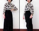 Vintage NOIR DRAMATIQUE Velvet Maxi Skirt // Deadstock 1960s // XS/S