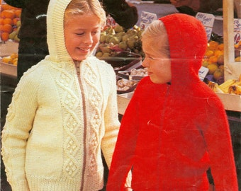 Childs Hooded Zippered Sweaters 2 Styles 4 Sizes Knitting Pattern Pdf Instant Download