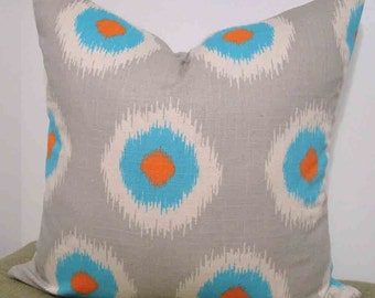 Pillow Cover 18 inch in Gray, Orange and Turquoise Bullseye