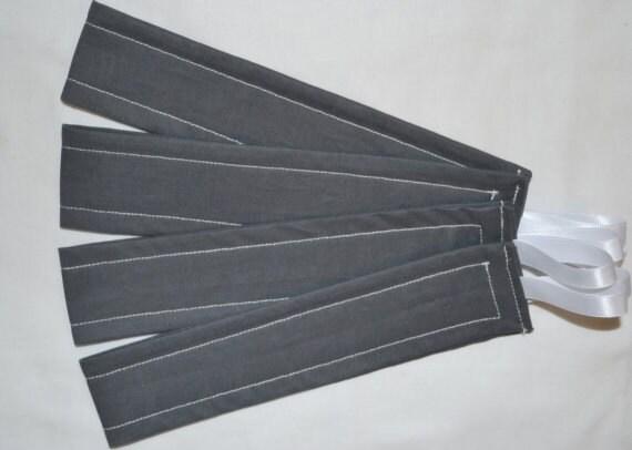 Set of 4 CHARCOAL GRAY & White Shimmery Ribbon Curtain tiebacks
