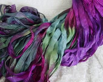 Hand dyed ribbon -  New MAGIC SPELL dazzle ribbon, 5 yards