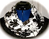 Black and White Floral Infinity Scarf