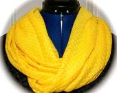 Yellow Fine Knit Infinity Scarf