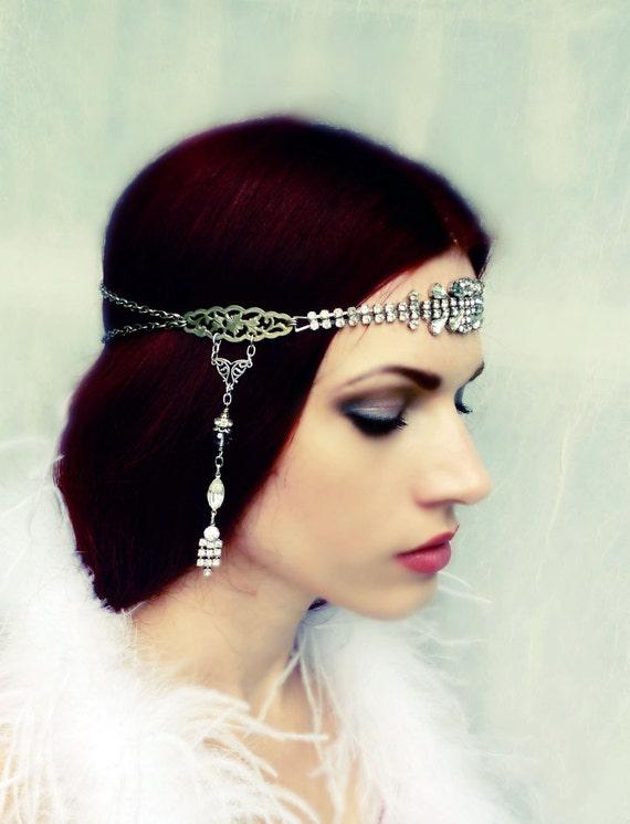 On Hold - Great Gatsby Flapper Art Deco Headdress Vintage Rhinestone Headpiece
