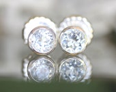 White Topaz Sterling Silver Ear Studs, Gemstone, Birthstone, No Nickel / Nickel Free - Made to Order