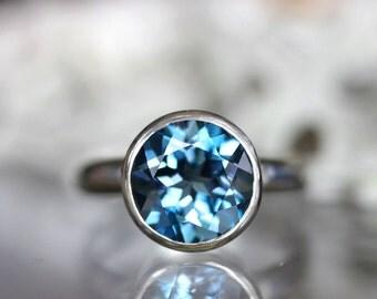 London Blue Topaz Sterling Silver Ring, Gemstone Ring, In No Nickel / Nickel Free - Made To Order