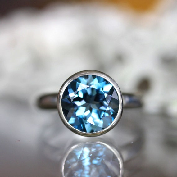 London Blue Topaz Sterling Silver Ring Gemstone Ring In No