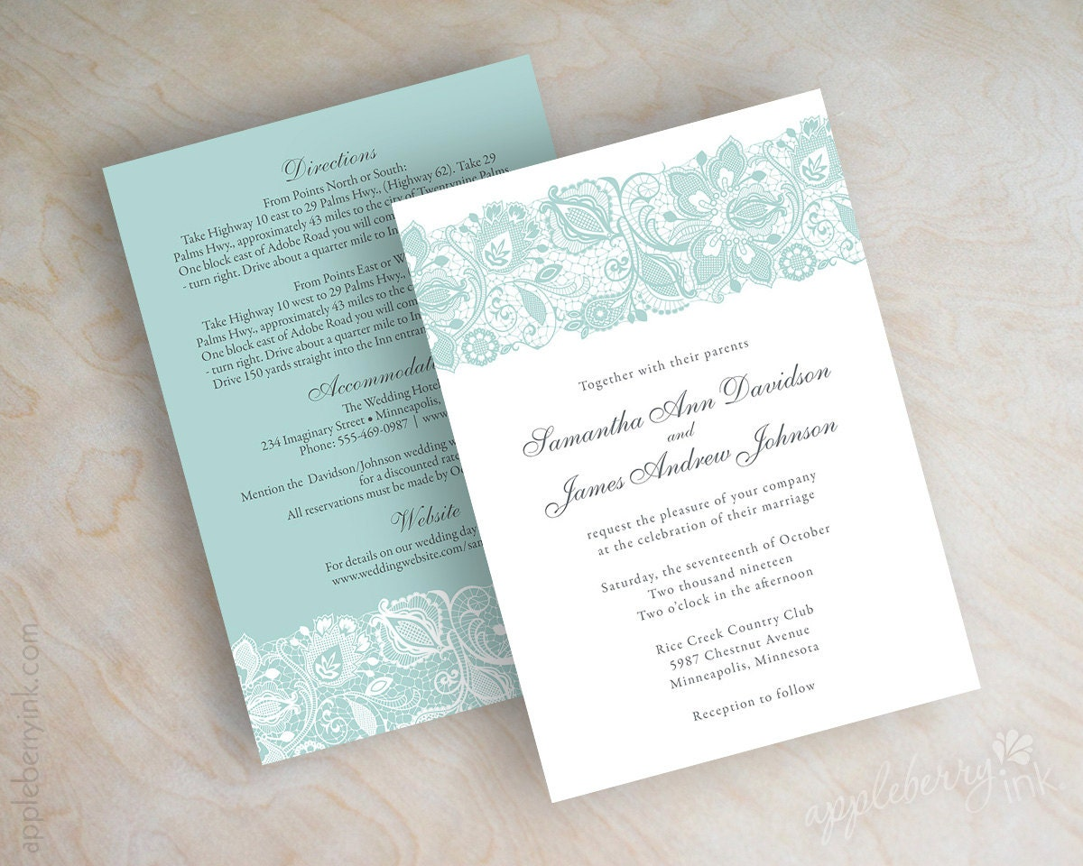 Wedding Invitation With Lace: Lace Wedding Invitation Victorian Wedding Invitation Lace