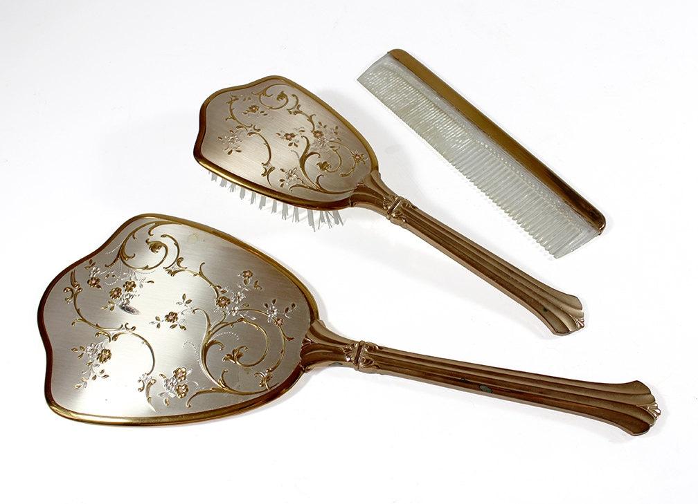 Vintage Vanity Set Mirror Brush & Comb