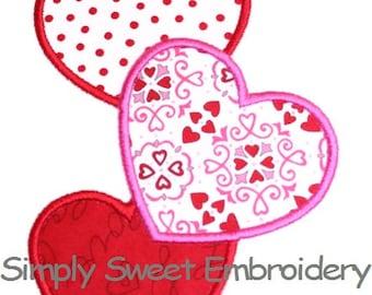 Three Hearts Machine Embroidery Applique Design