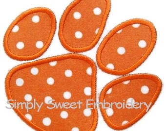 Paw Print Machine Embroidery Applique Design - INSTANT DOWNLOAD