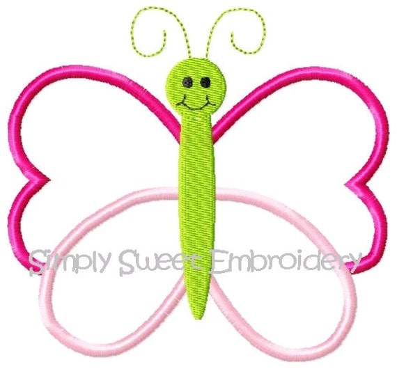 Butterfly Machine Embroidery Applique Design 2 sizes