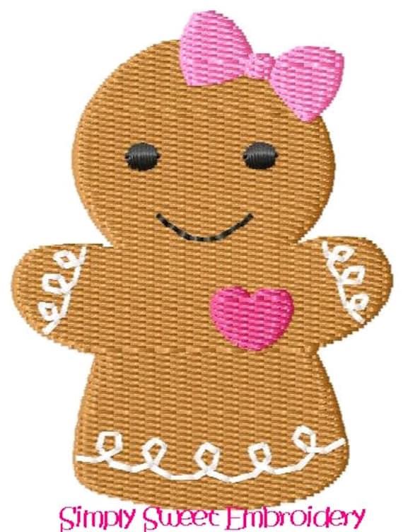 Girl Gingerbread Mini Machine Embroidery Design