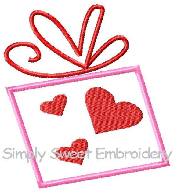 Valentines day present machine embroidery by