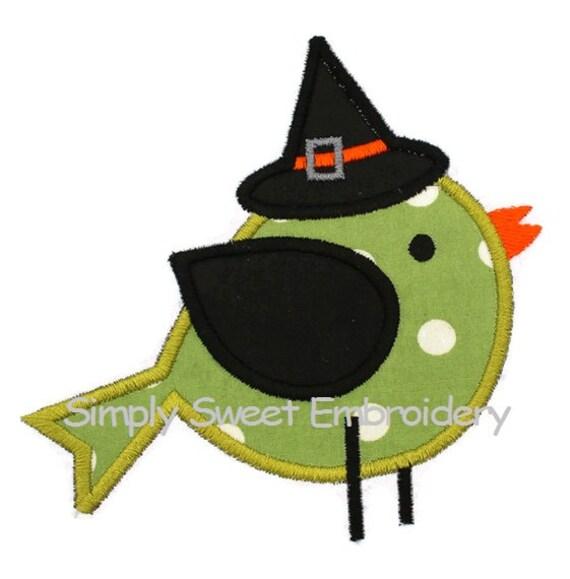 Halloween Bird Machine Embroidery Applique Design