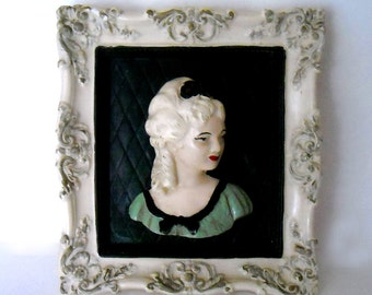 vintage 1940's ceramic/plaster lady's framed portrait - family heirloom