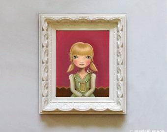 portrait painting Girl and sparrow bird art print Big eye art- 8x10 oil painting print on somerset velvet Emma by Marisol Spoon