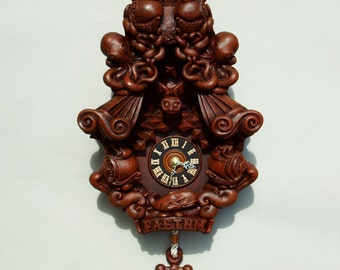 Cuckoo Clock wall clock art sculpture chocolate brown - Faethm Cuckoo by Marisol Spoon