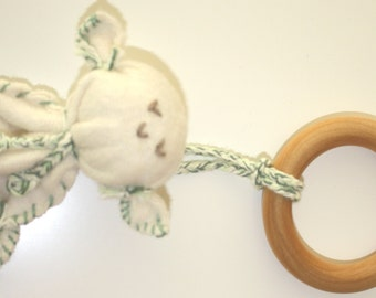 """Organic Cotton 4"""" Lambie with American made solid Maple Wood Ring Teether eco-friendly,baby gift"""