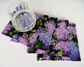 Purple Lilac Coasters Reversible set of 4 or 6 Purple Lilac Mug Rugs Black and Purple Coasters Spring Coasters Purple Mug Rugs Lavender