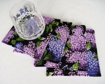 Purple Lilac Coasters Reversible set of 4 or 6 Purple Lilac Mug Rugs Black and Purple Coasters Spring Coasters Purple Mug Rugs Lavender