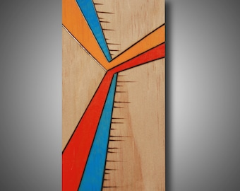 """Fly Away - 3.5"""" x 6.25 - small original abstract art - wood burned - pyrography - Prismacolor pencil - modern home decor"""