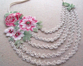 Romantic Floral Collar Necklace Tatting Lace Statement Choker Mothers Day Gift Neck Charm, Designer, OOAK, Bridal Wedding Charm Peony Flower
