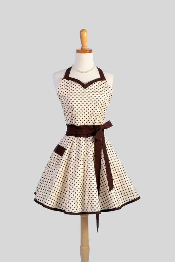 Sweetheart Retro Apron Sexy Womens Apron In Brown And Ivory