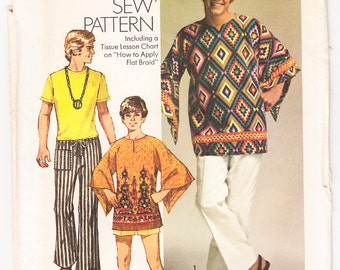Vintage 1970 Simplicity 9179 UNCUT Sewing Pattern Teen Boys' Tunic and Hip Hugger Pants Size 14