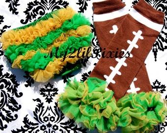 Baby Leg Warmers, Bloomers Green Bay Packers- Chiffon ruffle bum baby bloomer and ruffle football Leg warmers -Baby girl set