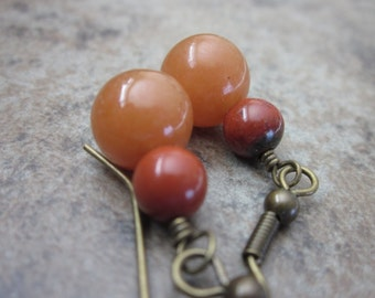 Peach Aventurine Earrings with Picasso Jasper. Apricot Orange & Brick Red Natural Gemstone Earrings in Antiqued Brass. Gift for Her